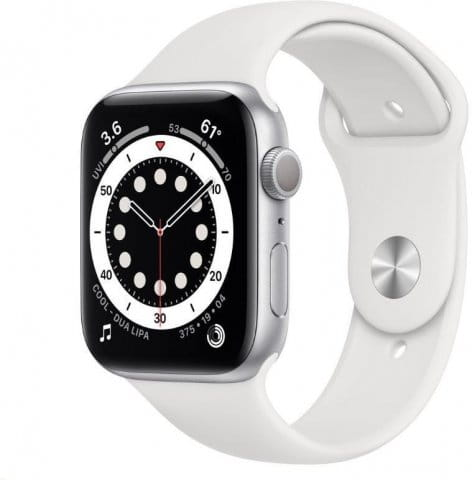 Apple Watch S6 GPS, 44mm Silver Aluminium Case with White Sport Band - Regular
