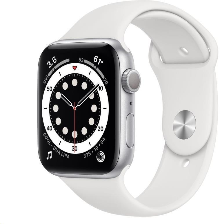 Hodinky Apple Apple Watch S6 GPS, 44mm Silver Aluminium Case with White Sport Band - Regular