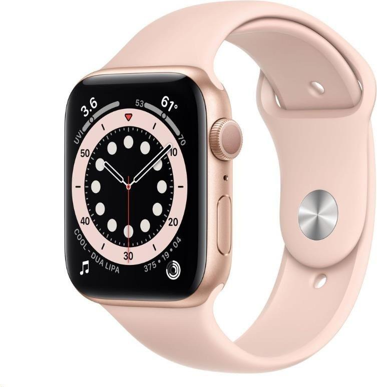 Hodinky Apple Apple Watch S6 GPS, 44mm Gold Aluminium Case with Pink Sand Sport Band - Regular