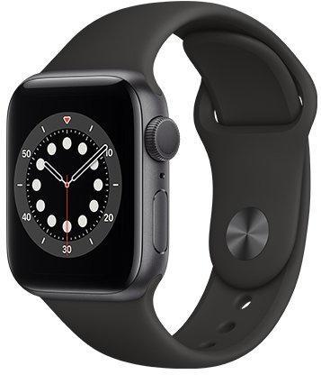 Hodinky Apple Apple Watch S6 GPS, 40mm Space Gray Aluminium Case with Black Sport Band - Regular