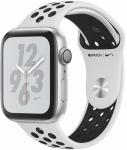 Reloj Apple Apple Watch + Series 4 GPS, 44mm Silver Aluminium Case with Pure Platinum/Black Sport Band