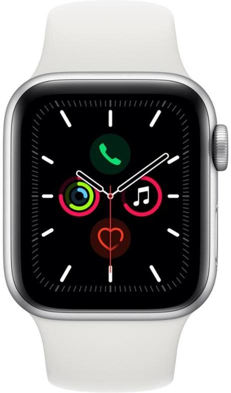 Hodinky Apple Apple Watch Series 5 GPS, 40mm Silver Aluminium Case with White Sport Band