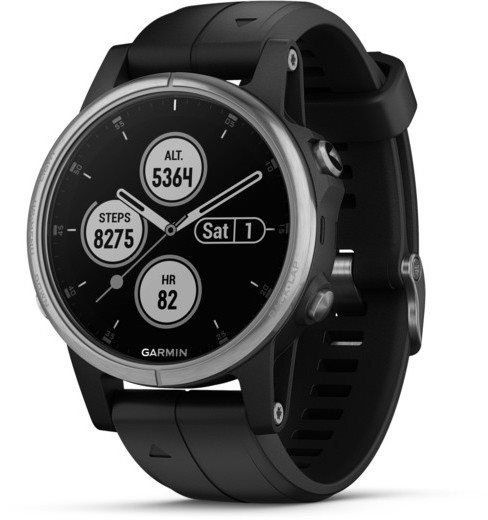 Uhren Garmin Garmin fenix5S Plus Silver, Black Band