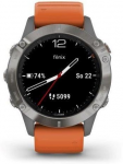 Reloj Garmin Garmin fenix6 Sapphire, Titanium/Orange Band (MAP/Music)