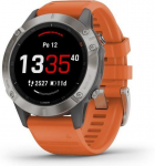 Garmin fenix6 Sapphire, Titanium/Orange Band (MAP/Music)