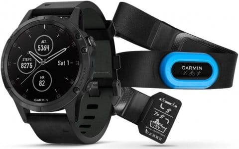 Watch Garmin Garmin fenix5 Plus Sapphire Black, Black Band, Performer TRI Bundle