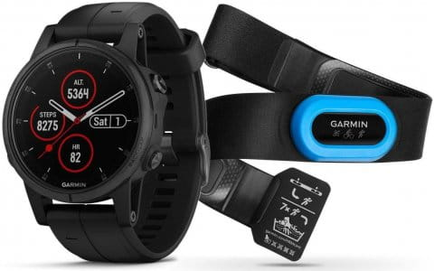 Watch Garmin Garmin fenix5S Plus Sapphire Black, Black Band, Performer TRI Bundle