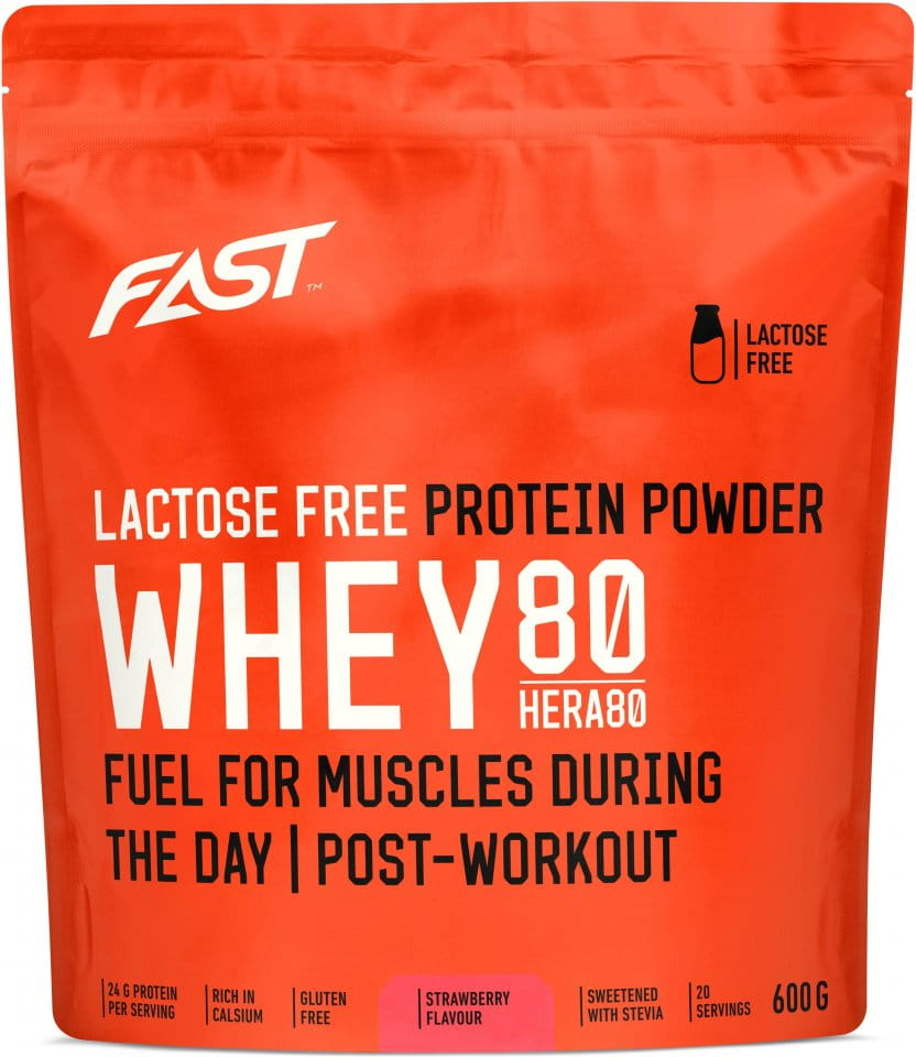 Pulver FAST Whey80 600 g strawberry lactose free