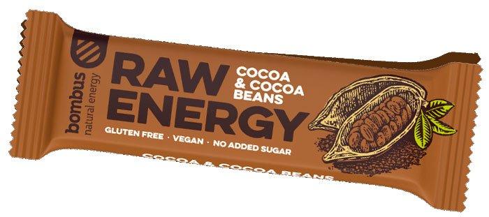 Tyčinka Bombus Raw energy - Cocoa + beans 50g