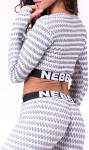 Dámský crop top s dlouhým rukávem Nebbia Boho Style 3D pattern