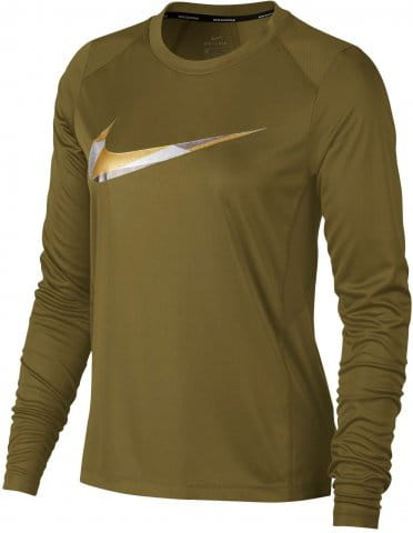 Triko s dlouhým rukávem Nike W NK MILER TOP LS METALLIC