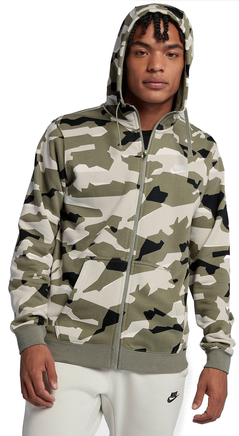 Hooded sweatshirt Nike M NSW CLUB CAMO HOODIE FZ FT