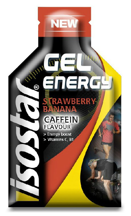 Energetický gel Isostar Caffein Strawberry banana 35g