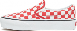 UA Classic Slip-On Platform (CHECKERBOARD) RACING RED