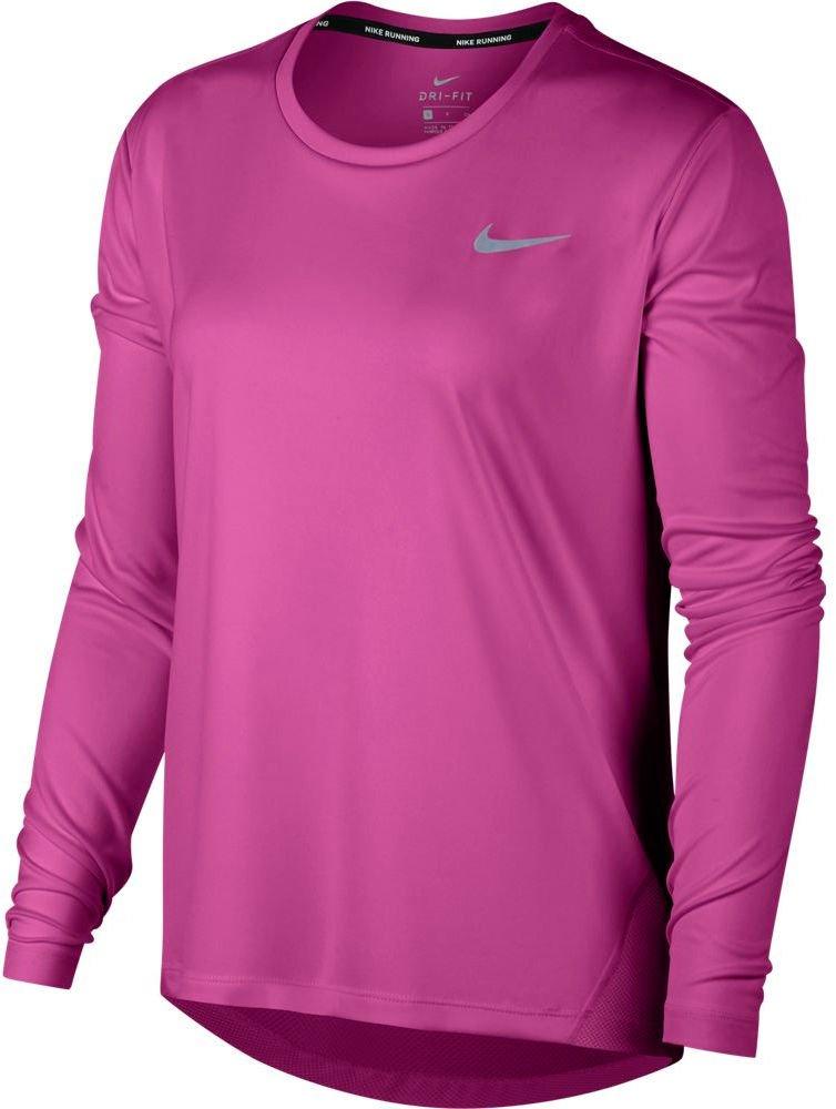 Nike MILER TOP LS W piros M Hosszú ujjú női futó póló