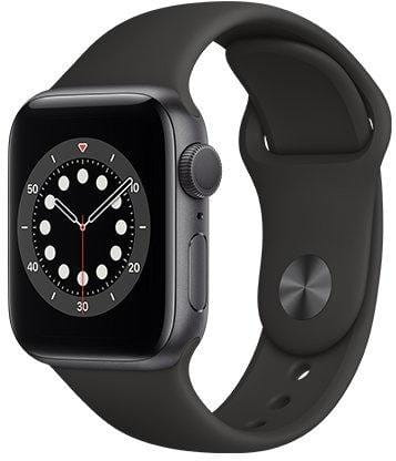 Apple Watch S6 GPS, 44mm Space Gray Aluminium Case with Black Sport Band - Regular