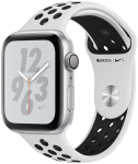 Apple Watch + Series 4 GPS, 40mm Silver Aluminium Case with Pure Platinum/Black Sport Band