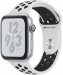 Apple Watch + Series 4 GPS, 44mm Silver Aluminium Case with Pure Platinum/Black Sport Band